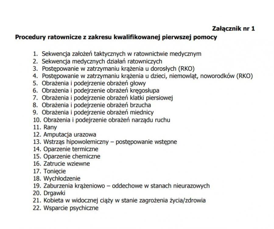 Aktualne procedury medyczne KPP (Kwalifikowana Pierwsza Pomoc w KSRG) 2020/2021