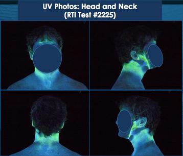 Badanie z pyłem fluorescencyjnym kontaminacja twarzy i szyi
