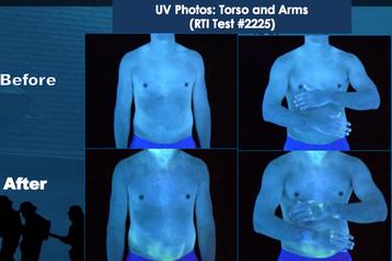 Badanie z pyłem fluorescencyjnym kontaminacja torsu i rąk