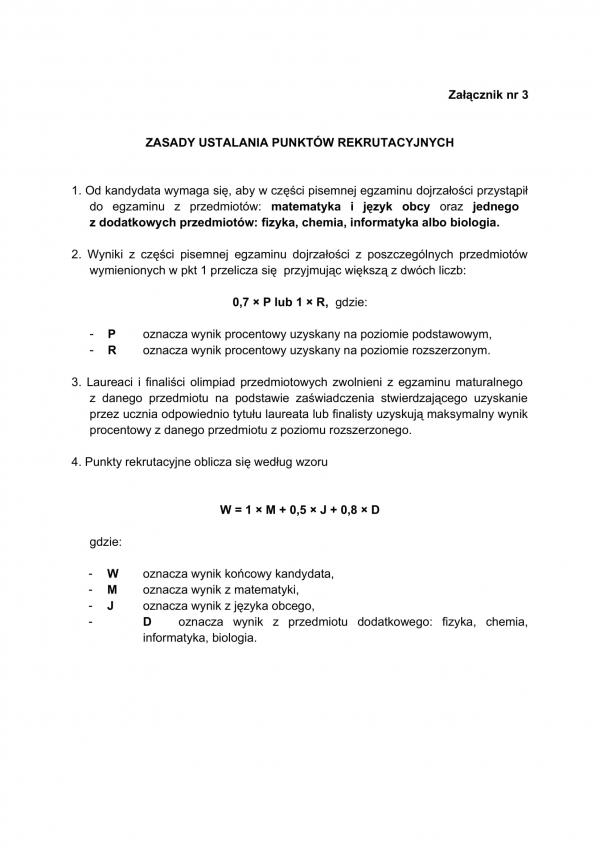zasady ustalania punktów z matur w naborze do aspirantki i PSP