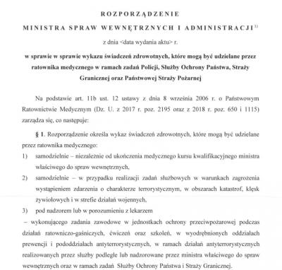 Rozporządzenie mswia w sprawie wykazu świadczeń ratownika medycznego w służbach