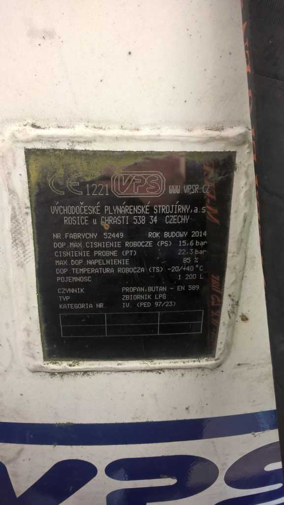 Tabliczka informacyjna zbiornika LPG