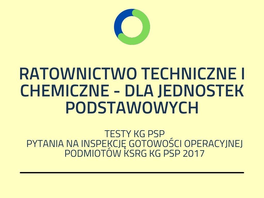 RATOWNICTWO TECHNICZNE I CHEMICZNE - DLA JEDNOSTEK PODSTAWOWYCH